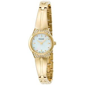 Pulsar Women's PTA382 Crystal Mother Of Pearl Gold-Tone Watch