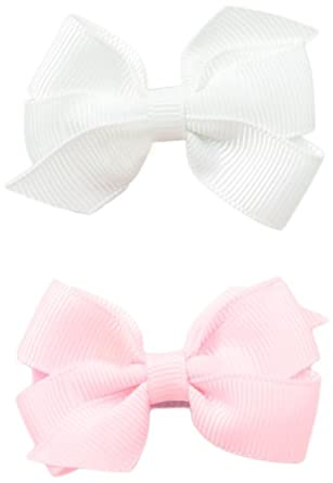 No Slippy Hair Clippy Baby-Girls Newborn Ava Two Pack Bow, Pink/White, 0-12 Months