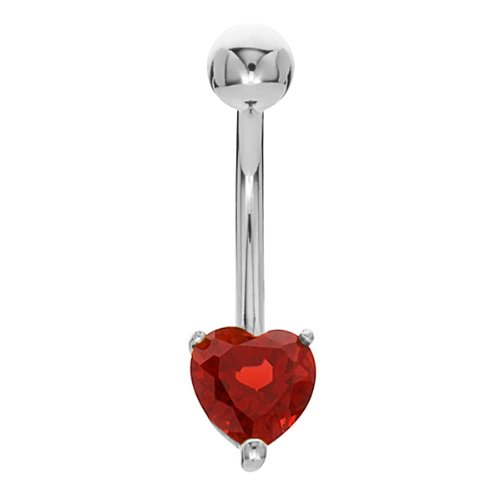 Elegant Garnet Solitaire Heart 14K White Gold Belly Button Ring