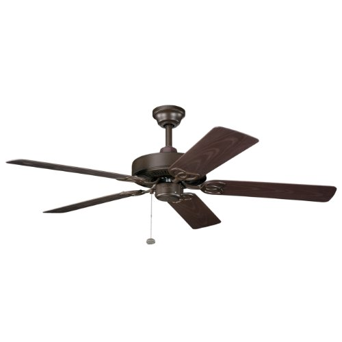 Kichler Lighting 339520Tzp Sterling Manor Patio 52In Energy Star Outdoor/Indoor Ceiling Fan, Tannery Bronze Powder Coat Finish With Brown Abs Blades front-896426