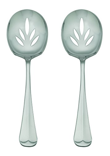 HIC Oxford Stainless Steel Slotted Serving Spoons Set, Set of 2, 9-Inch (Slotted Cheese Spoon compare prices)