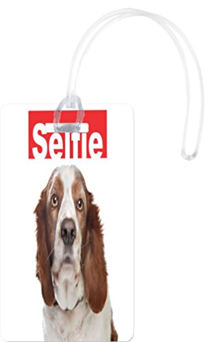 Rikki KnightTM Selfie Brown Springer Spaniel Dog Design Flexi Luggage Tags - Premium Quality Plastic ID Card Tags - Great for Travel (Set of 2)