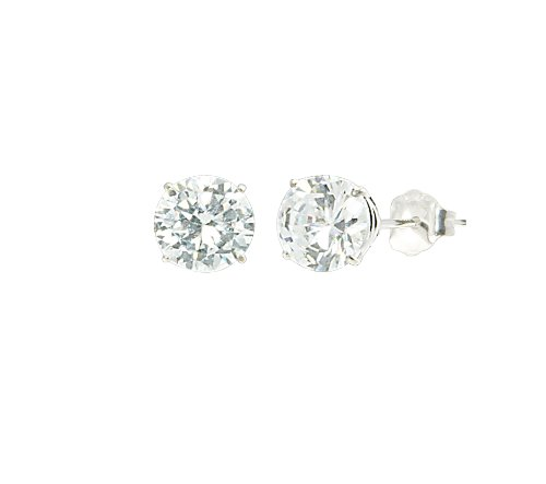 14k White Gold Round-Cut Cubic Zirconia Studs (1 cttw)