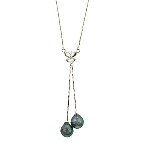 Sterling Silver Tahitian Cultured Pearl Butterfly Drop Box Chain Necklace (8-9mm ), 16+3