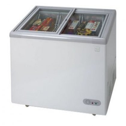 CF211G - 7.4 CF Commercial Glass Top Display Chest Freezer - White