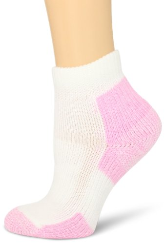 Thorlo Women's Distance Walker Mini-Crew Sock, White/Pink, Medium