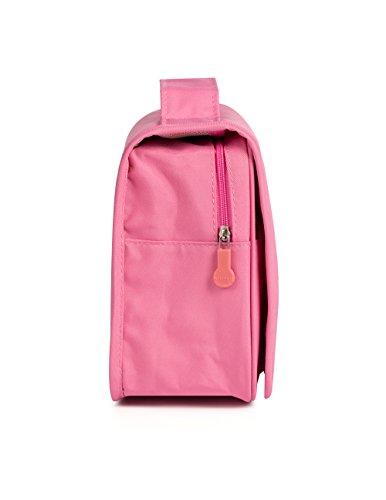 Plambag Hanging Travel Toiletry Organizer Bag Bathroom Cosmetic Bag Shaving Kit Pink Hardware