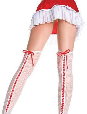 MusicLegs Holiday Stockings genetzt mit roter Schnürung