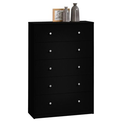 Simple Yet Elegant Portland 5 Drawer Chest - Made Out Of Wood - Each Drawer Allows Ample Of Space To Store In - Available In Multiple Finishes (Black)