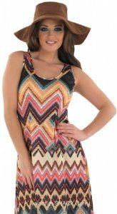 Adult Ladies Hippie Zig Zag Dress Costume. Sizes 20-22