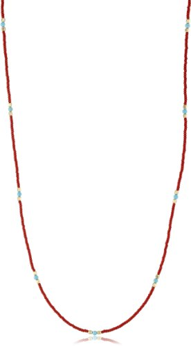 Chibi Jewels Red Glass Bead and Turquoise Necklace