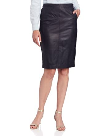 HALSTON HERITAGE Women's Leather Combo Pencil Skirt, Midnight, 0