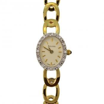 Gold Women's Chain Link Bulova Watch w Diamonds