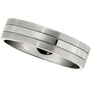 6 mm Titanium Satin and Polished Flat Comfort Fit Ring, Size 9