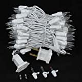 "Novelty Lights, Inc. CG100-4-W-CL Commercial Grade Christmas Mini Christmas Light Set, Clear, White Wire, 100 Light, 4"" Spacing, 34 Long"