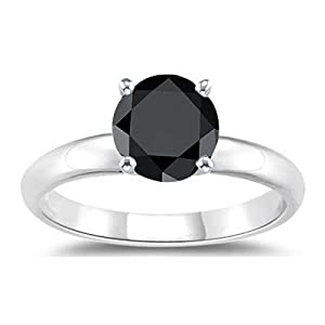1.00 Ct AA Black Diamond Solitaire Ring in 14K White Gold-9.5