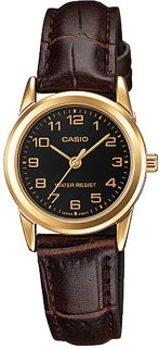 LADIES BLACK DIAL TRADITIONAL GOLD PLATED CASIO WATCH