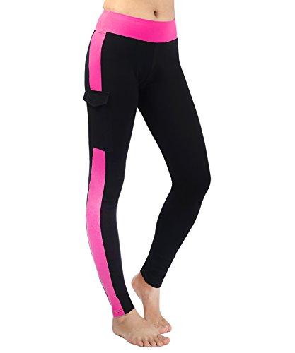 Neonysweets Womens Yoga Pants Tights Running Fitness Pants Leggings Black Rose L