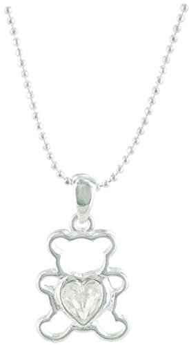 Teddy Bear Birthstone Pendant and Chain, April