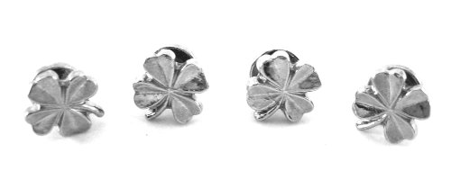 Silver Four Leaf Clover Lucky Stud Set