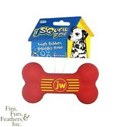 JW Pet Company Insight Squeak Bone 5.5in Med. Rubber Dog Toy Assorted Colors