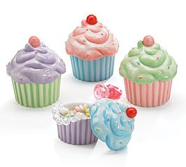 Set Of 4 Cupcake Shape Dishes With Lids Adorable Home Or Party Decor