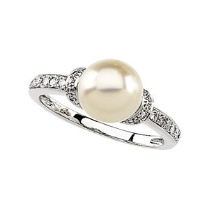 14k White Gold Fw Cultured Pearl Rough Diamond Ring 8mm - Size 6 - JewelryWeb