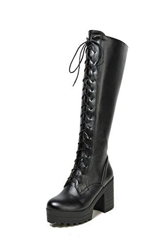 balamasa-ladies-square-heels-platform-lace-up-round-toe-black-imitated-leather-boots-55-uk