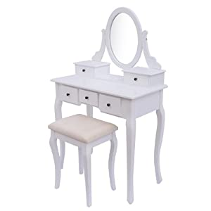 Homcom Antique Style Shabby Chic Dressing Table With Vanity Mirror Stoo