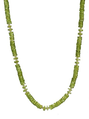 Bamboo Inspired Peridot Rondell with Sterling Silver Bead Accents Necklace, 18