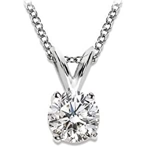 1/2 Carat 4 Prong Solitaire Basket Diamond Pendant Necklace 14K White Gold (K, I2, 0.5 ctw) w/ 14K Gold Chain from Houston Diamond Cutters