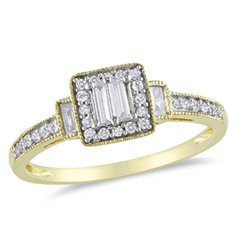 Baguette Diamond Square Frame Engagement Ring in 10K Gold 1/3 CT. T.W. composite