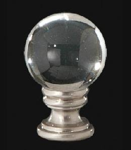 B&P Lamp Clear Crystal Ball Finial, 1 5/8 In Ht. 1/4-27 Tap