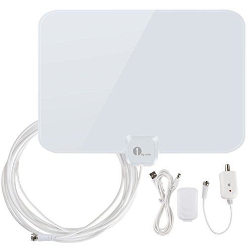 Buy Cheap 1byone Shiny Antenna Super Thin Amplified HDTV Antenna 50 Miles Range with Detachable Ampl...
