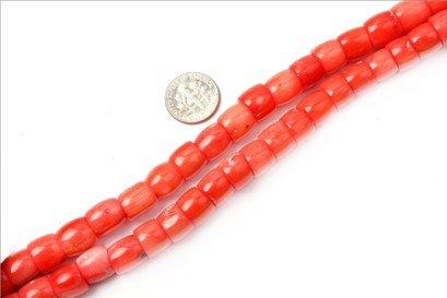 8x10mm column gemstone light coral beads strand 15