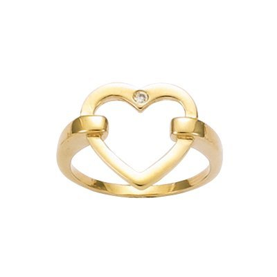 18K Gold Plated Clear Cubic Zirconia Love Heart Band Ring - Size 10