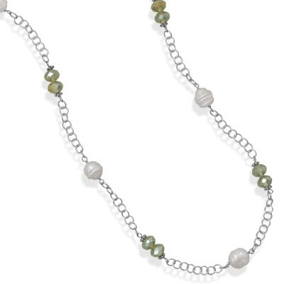 White Pearl and Green Crystal Fashion Necklace 36 inches Long, Made in the USA