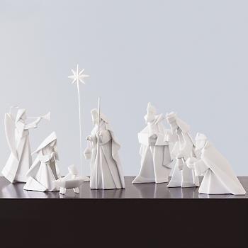 One Hundred 80 Degrees Porcelain 9 piece Nativity Set