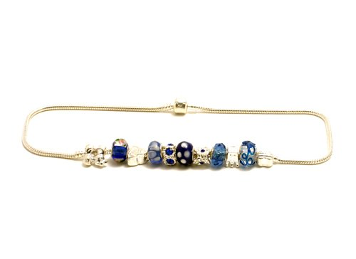 Blue Pandora style necklace (Oyster clasp)