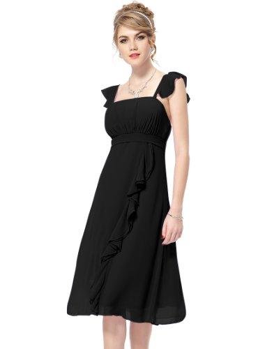 He03337Bk16, Black, 14Us, Ever Pretty Cap Sleeve Summer Dresses For Women 03337