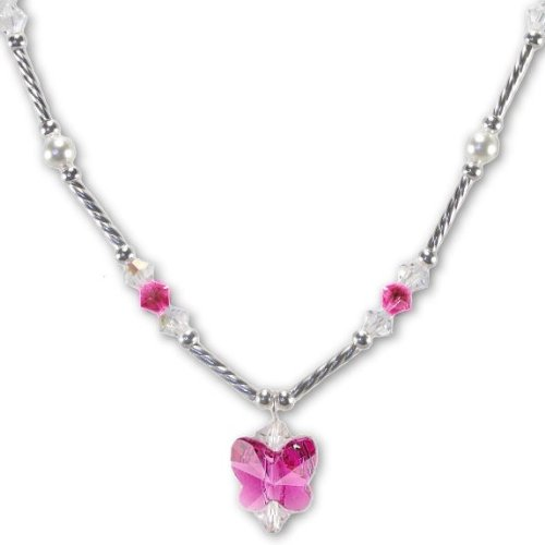 Fuchsia Pink Butterfly Necklace Made with SWAROVSKI ELEMENTS Crystals and Pearls Sterling Silver