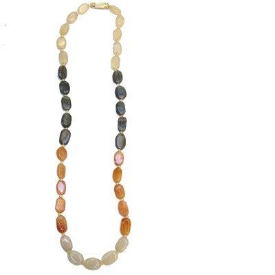 Calcite Necklace 03 Beaded Aventurine Orange White Crystal Stone 17