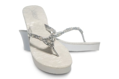 ESNY Wedge Thong Wedding Sandals with Rock Candy (L / 9-10)
