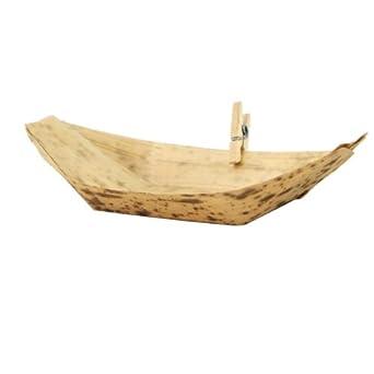 PacknWood 210BJQ9 Bamboo Leaf Boat, 3.5-Inch Long x 2.3-Inch Wide x 0.51-Inch High (20 Packs of 100)