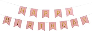 Pastel Perfection and Gold Foiled Happy Birthday Bunting Banner - Pink by JoyCrafty