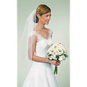 Simple Elegance Cut Edge White Wedding Veil with Comb