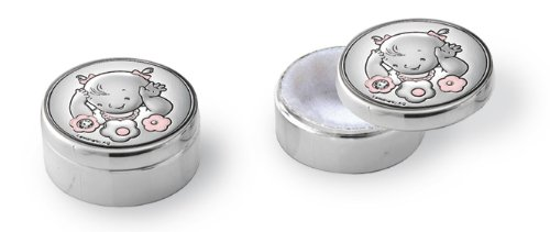 Silver Touch USA Sterling Silver First Tooth First Curl Keepsake Box, Pink