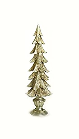 2 Foot Potted Champagne Gold Glittered Christmas Tree Table Top Decoration by Roman