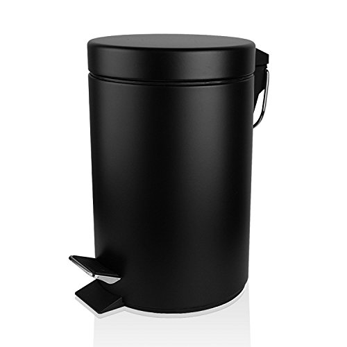 Fortune Candy Small Round Carbon Steel Trash Can with Lid and Removable Inner Bucket for Kitchen Office Bathroom Bedroom,5L/1.3Gallon (Black) (Designer Trash Can compare prices)