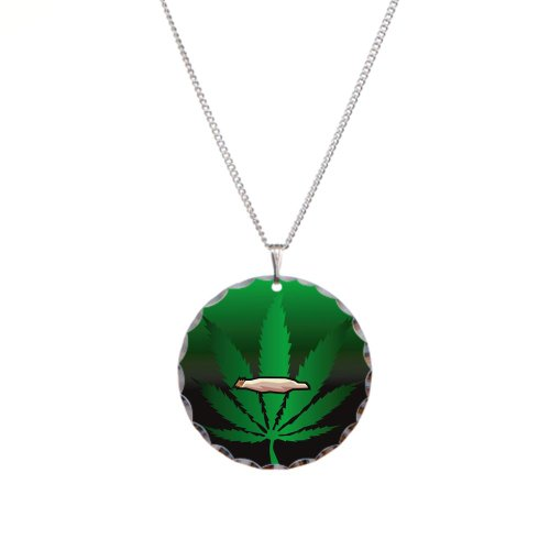 Necklace Circle Charm Marijuana Joint and Leaf